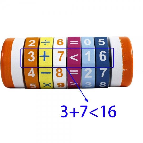 Cilindru Cub din lemn Puzzle Aritmetic  Onshine 4