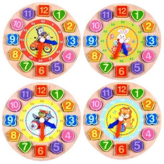 Ceas din lemn 2 in 1 pentru copii -  Ceas lemn cu forme geometrice 1