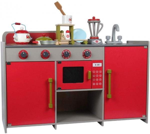 Bucatarie de lemn copii Dubla European Kitchen  cu accesorii 2