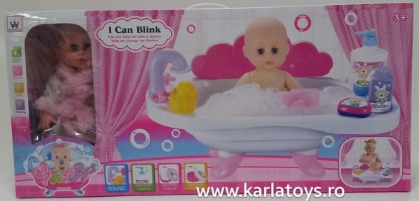 Papusa bebelus  cu cadita si accesorii Bath 1