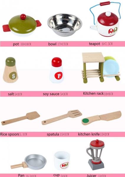 Bucatarie de lemn copii Dubla European Kitchen  cu accesorii 3