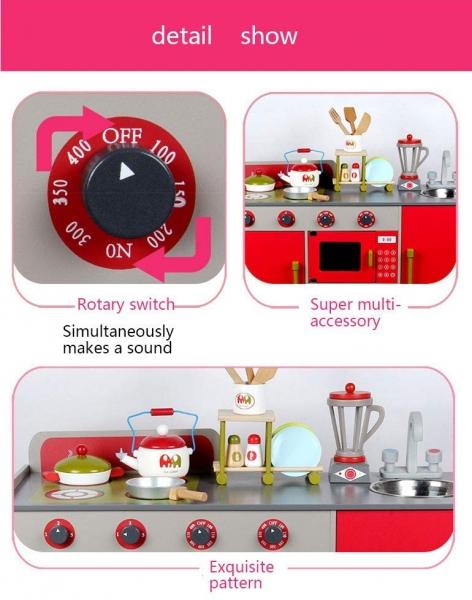 Bucatarie de lemn copii Dubla European Kitchen  cu accesorii 6