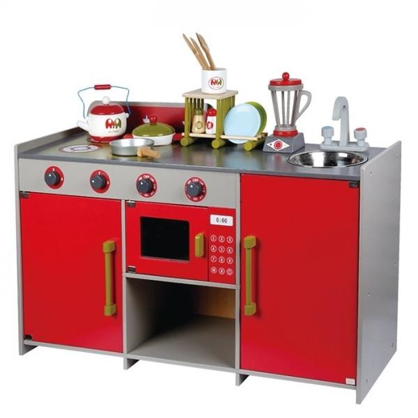 Bucatarie de lemn copii Dubla European Kitchen  cu accesorii 0