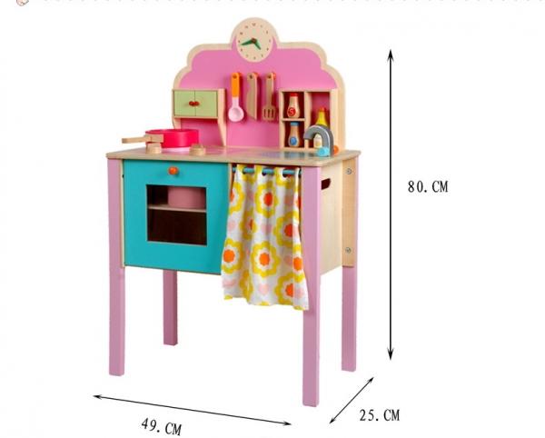 Bucatarie de jucarie de lemn Pink Kitchen 1