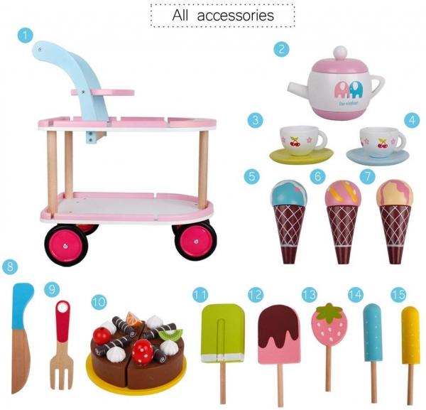 Carucior inghetata din lemn cu accesorii copii - Masuta cu roti desert din lemn 1