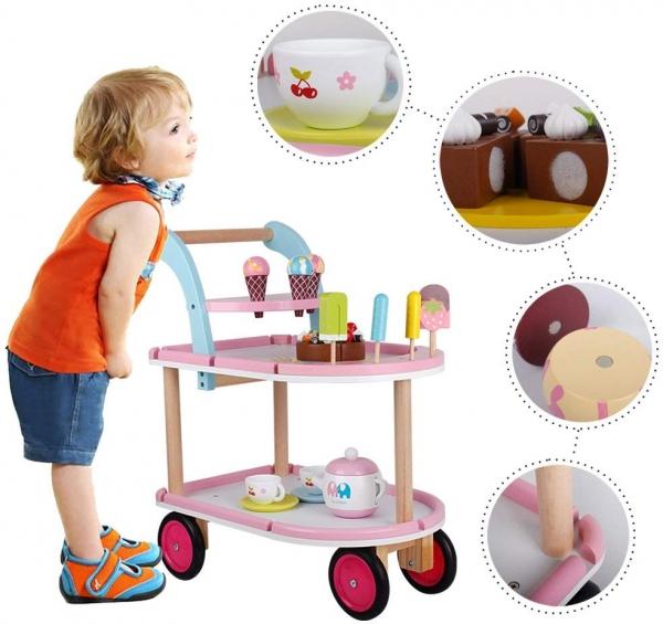 Carucior inghetata din lemn cu accesorii copii - Masuta cu roti desert din lemn 3