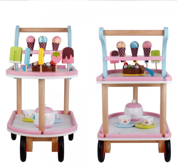 Carucior inghetata din lemn cu accesorii copii - Masuta cu roti desert din lemn 2