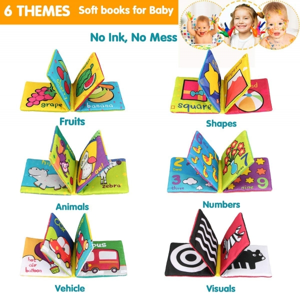 Set 6 carti bebelusi senzoriale - Prima mea carte material textil Top Bright 3