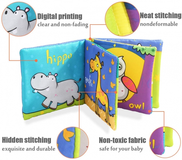 Set 6 carti bebelusi senzoriale - Prima mea carte material textil Top Bright 7