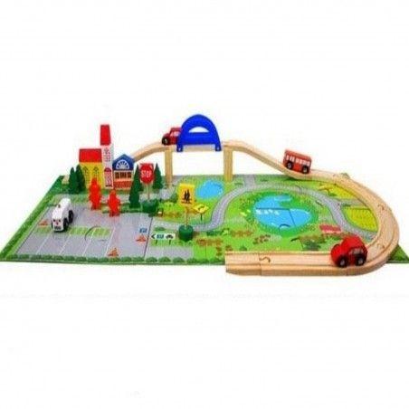 Circuit  din lemn cu masinute din lemn si covoras puzzle 0