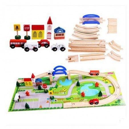 Circuit  din lemn cu masinute din lemn si covoras puzzle 2
