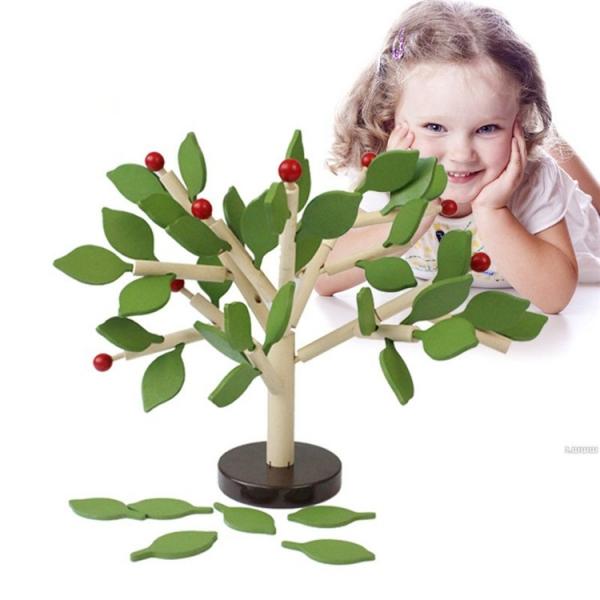 Jucarie de lemn puzzle mntessori Copacul cu frunze 3D 3