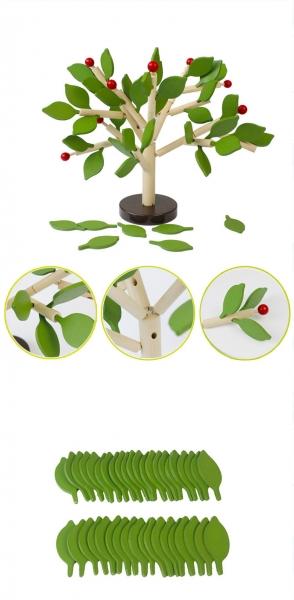 Jucarie de lemn puzzle mntessori Copacul cu frunze 3D 4