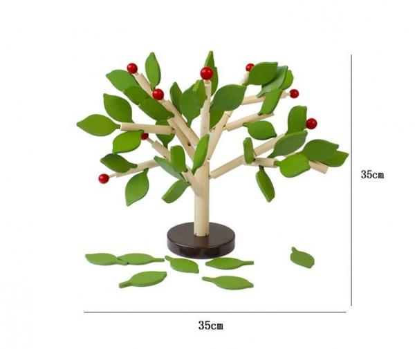 Jucarie de lemn puzzle mntessori Copacul cu frunze 3D 5
