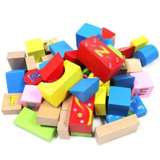 Set cuburi din lemn cu ghiozdan 1