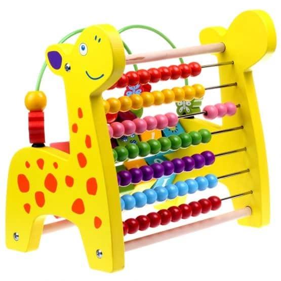 Jucarie educativa 3 in 1 Girafa( Abac cu bile)Elefantel - Leu 0