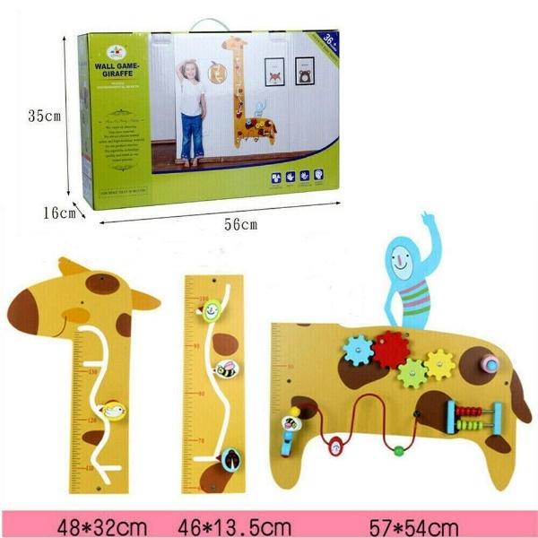 Placa de masurat din lemn Girafa cu activitatii copii - Panou cu activitatii si masuratoare copii 1
