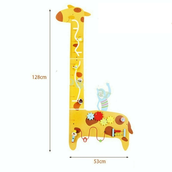 Placa de masurat din lemn Girafa cu activitatii copii - Panou cu activitatii si masuratoare copii 0