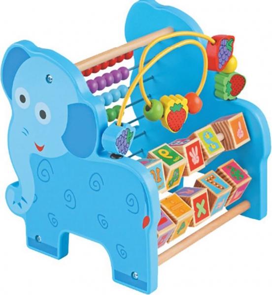 Jucarie educativa 3 in 1 Girafa( Abac cu bile)Elefantel - Leu 9
