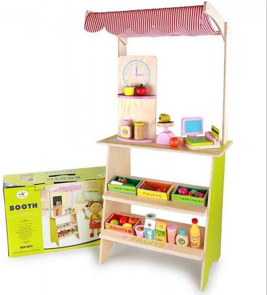 Stand din lemn cu accesorii copii - Supermarket din lemn copii 0