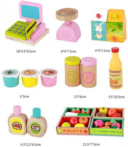 Stand din lemn cu accesorii copii - Supermarket din lemn copii 4