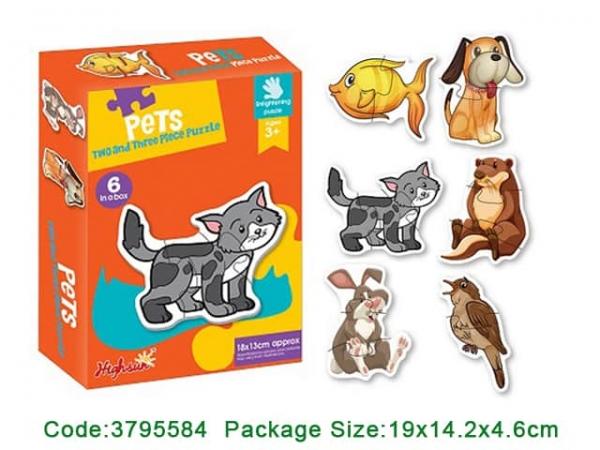 Puzzle bebe animale din doua si patru piese   4 seturi 0