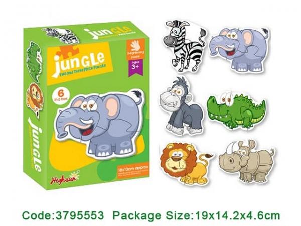 Puzzle bebe animale din doua si patru piese   4 seturi 1