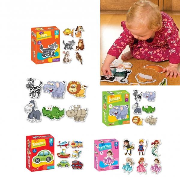 Puzzle bebe animale din doua si patru piese   4 seturi 4