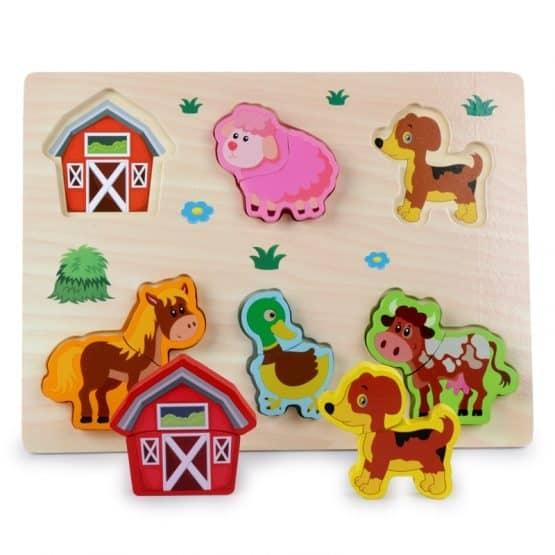 Puzzle lemn 3D Legume,insecte,animale,ferma,masinute 5