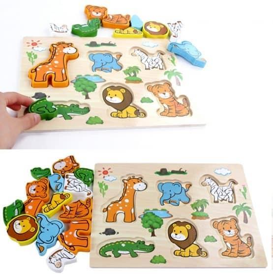 Puzzle lemn 3D Legume,insecte,animale,ferma,masinute 4