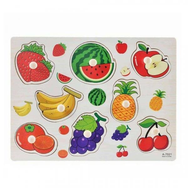 Puzzle din lemn cu maner Fructe 0