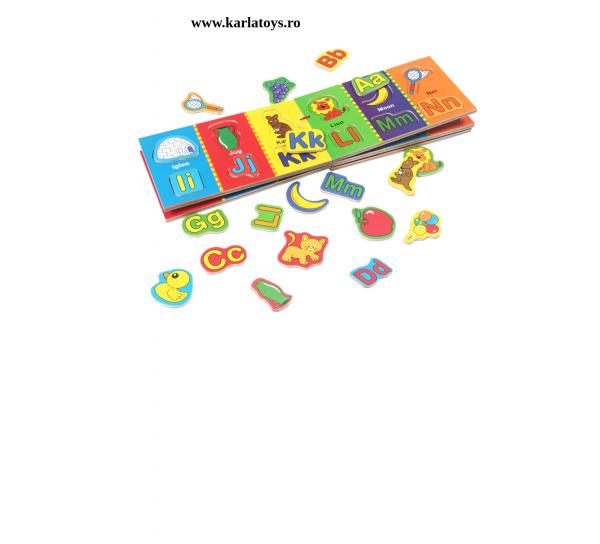 Carte din lemn Alfabet si imagini magnetice 0