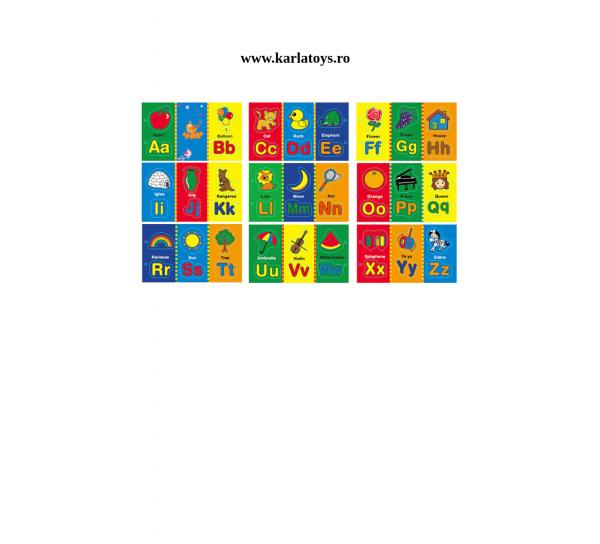 Carte din lemn Alfabet si imagini magnetice 2