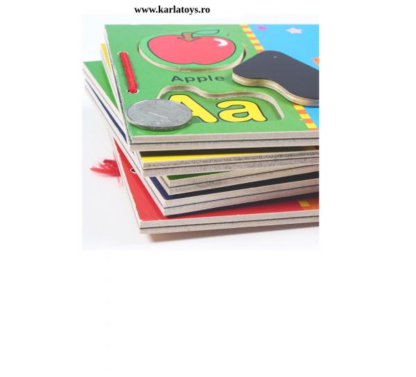 Carte din lemn Alfabet si imagini magnetice 3