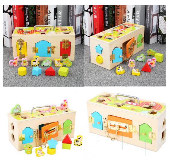 Cutia incuie si deschuie din lemn cu forme si animale - Joc montessori Cutia cu incuietori 0